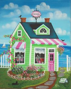 Folk Art Prints | Candy Shoppe Folk Art Print FREE Shipping by KimsCottageArt
