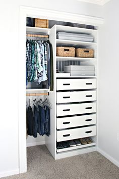 IHeart Organizing: An Organized Teen Boy Closet - BoyCabinet a IHeart .IHeart Organizing: An organized teen boy closet - BoySchrank ein IHeart Organisiert Organizing Hasena box spring bed inside with topper Ikea Bedroom, Small Room Bedroom, Closet Bedroom, Girls Bedroom, Small Rooms, Bedroom Decor, Small Spaces, Bedroom Furniture, Bedroom Lighting