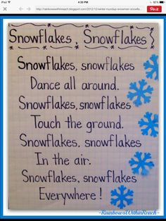 Winter Rhymes, Poems, Anchor Charts and Pocket Charts for Kindergarten and Grade. Penguin Anchor Chart Rhymes too! Winter Fun, Winter Theme, Snow Theme, Winter Ideas, Winter Activities, Preschool Activities, Preschool Winter Songs, Preschool Transitions, Preschool Poems