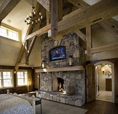 Nice big fire place in the bedroom