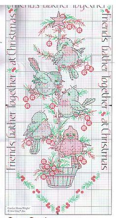 Schema punto croce Albero Con Uccellini 4