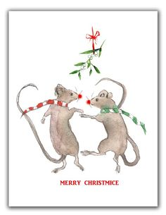 Christmas Mice cards- Mistletoe - holiday mice-  holiday mice cards-  funny christmas cards- mouse christmas cards- dancing mice Unique Christmas Cards, Christmas Ornaments, Mistletoe, Order Prints, Mammals, Mousse, Holiday Decor, Funny, Xmas Ornaments