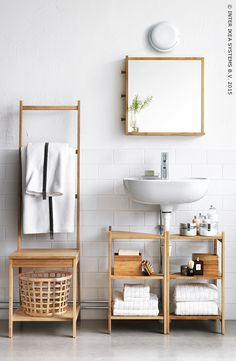 Small bathroom ideas - space-saving bathroom furniture and many clever solutions - Ikea DIY Ikea Bathroom Accessories, Small Bathroom Furniture, Small Bathroom Storage, Small Bathrooms, Bathroom Shelves, Bathroom Organization, Organization Ideas, Bathroom Vanities, Small Storage