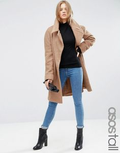 ASOS+TALL+Coat+in+Oversized+Fit+with+Turn+Back+Cuff
