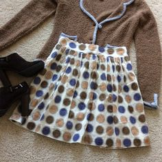 "{Anthropologie} Edme & Esyllte Cultivation skirt {Anthropologie} Edme & Esyllte Cultivation skirt. Super cute with brown, tan and blue dots. Pairs nicely with the jacket, which is in a separate listing. Pleated with pull on styling. Elastic in the back portion of the waistband. Hidden side pockets. Approx 20"" long. Laying flat approx 15"" across, with some stretch due to the elastic portion of the waistband. Lined. Cotton. Size Small. Excellent condition. #97 Anthropologie Skirts"