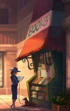 At the Bookstore. Lady with her doggy / In libreria. Donna con il proprio cagnolino - Art by Kristina Vardazaryan I Love Books, Good Books, Books To Read, My Books, Reading Art, Woman Reading, Reading Posters, Reading Books, World Of Books