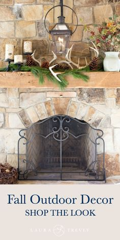 From faux antlers, birch candles, pinecones and fresh pine garland, everything is picture perfect. Get the look yourself and create a seasonal display for your outdoor porch and patio | Fall Outdoor Decor