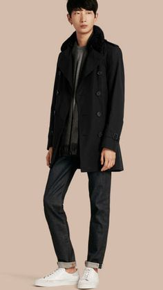 Shearling Topcollar Cotton Gabardine Trench Coat with Warmer Black