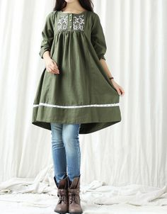 Autumn linen doll Knee length long sleeve dress by MaLieb on Etsy, $80.00
