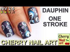 Nail art Dauphin au One stroke Cherry Nail Art, One Stroke Nails, Nail Patterns, Nail Polish Designs, Nailart, Beauty, Youtube, Hair, Nail Polish