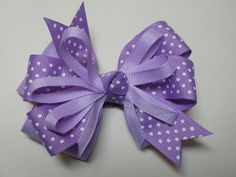 Lavendar Orchid Polka Dot Hair Bow Boutique Toddler by HareBizBows