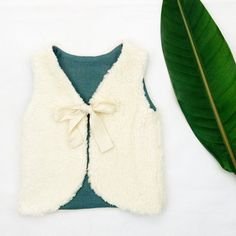 Baby Girl Vest Organic Cotton Fur And Dar Teal Pure Linen Lining, Baby Niece Gift, Baby Girl Clothes, Sizes 0-3 to 6-9 Month, READY TO SHIP