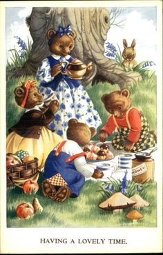 Jean Howe Tiny Tots Series Having A Lovely Time Bear Family Fantasy Postcard