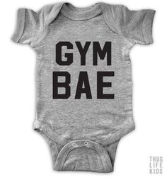 Gym Bae! White Onesies are 100% cotton. Heather Grey Onesies are 90% cotton, 10% polyester. All shirts are printed in the USA.