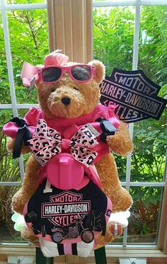 Harley Davidson Teddy Bear Motorcycle Diaper Cake  By Norma's Unique Gift Baskets