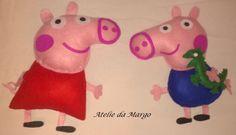 Peppa Pig em feltro 30 cm de altura, e George com 28 cm de altura,  forrados com fibra sintetica, bem fofinho, totalmente feito e bordado a mão.. R$ 80,00