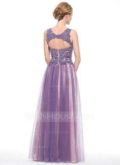 Corte A/Princesa Escote redondo Hasta el suelo Tul Encaje Vestido de baile de promoción con Bordado Lentejuelas (018075911)