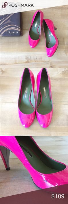 Ted Baker Pumps BRIGHT pink and not too high, these add a pop of color to any outfit and are super comfortable. Worn once! *Small scuff on the inside of the left shoe (pictured) Ted Baker Shoes Heels