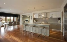 timber flooring Living - Colour scheme if we went with timber floors / timber look tiles Kitchen Family Rooms, Home Decor Kitchen, Kitchen Living, Home Kitchens, Kitchen Ideas, Cute Kitchen, Open Plan Kitchen, New Kitchen, Interior Design Gallery