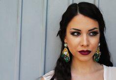 Drop Pearl Earrings, Green Crystal Earrings, Bridal Chandelier Earrings, Dark…