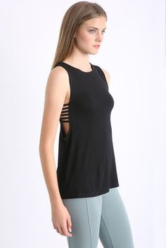 Track & Bliss Mesh Side Caged Tank Top in BLACK - side view