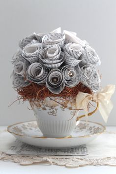 Paper Rose Tea Cup - Handmade Totally wanted all the flowers at my wedding to be made of paper but it was way too much work!