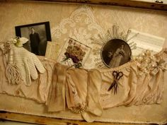 Suitcase lid becomes display for lovelies (from Vintage Trifles)