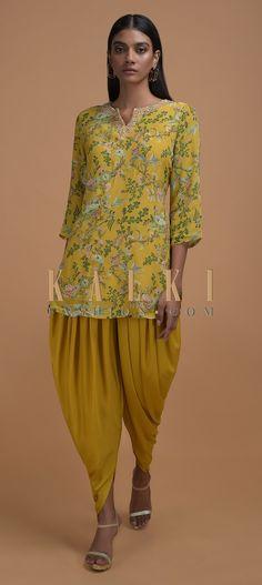 Mustard Top With Floral Print And Matching Dhoti Pant Online - Kalki Fashion Anarkali, Lehenga, Mustard Top, Indian Designer Wear, Straight Cut, Indian Wear, Salwar Kameez, Dress Collection, Ethnic