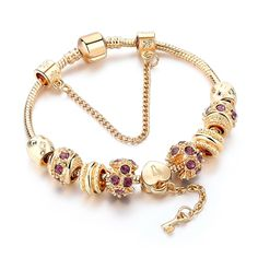 Fashion Purple Crystal Key Charm Bracelet For Women Gold European Diy Beads Bracelets & Bangles Pulseira Diy Beaded Bracelets, Gold Plated Bracelets, Bangle Bracelets, Bangles, Fashion Bracelets, Chan Luu, Great Gifts For Girlfriend, Custom Charms, Heart Bracelet