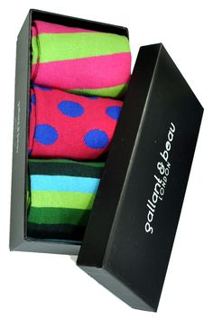 Cool Designer Socks by Gallant & Beau London. Set of 3 socks in lime, pink, fuchsia and sky blue. $48.50 Sale $29 great gift for any men (who likes colors)