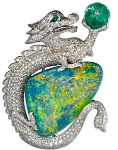 Cartier Dragon Brooch,Opal & Diamond  (BB) #JewelryOpal #Cartier