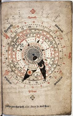 Wish I could read this! So cool!  Astronomical calendar, by Nicholas of Lynn, ca. 1324