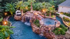 """Beautiful Residential Lazy River built in Colleyville, TX and shown on HGTV """"Cool Pools"""" and Travel Channel """"Ultimate Pools"""" - designed by Mike Farley. Visit your tropical paradise with this private oasis that comes complete with an outdoor kitchen, bi Luxury Swimming Pools, Luxury Pools, Dream Pools, Swimming Pools Backyard, Swimming Pool Designs, Tropical Pool Landscaping, Backyard Pool Designs, Tropical Hot Tubs, Lazy River Pool"""
