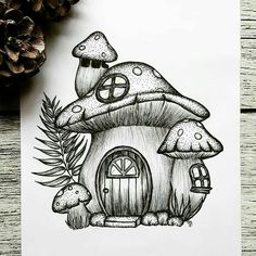 Today's Illustration is inspired by The mushroom house is my favorite drawing from Carmen.… - Today's Illustration is inspired by The mushroom house is my favorite drawing from Carmen. Cool Art Drawings, Pencil Art Drawings, Art Drawings Sketches, Sketch Drawing, Tattoo Drawings, Drawing Ideas, Pencil Drawing Inspiration, Fish Sketch, Images Of Drawings