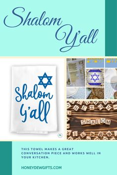 Celebrate Hanukkah this year with this towel in your home. Ring in the Jewish festival with a Southern flare. This towel makes a great conversation piece anrd works well in your kitchen. It also makes a perfect gift for your family and friends.
