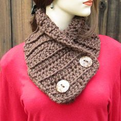READY TO SHIP Brown Crochet Cowl Scarf by CeciliaAnnDesigns