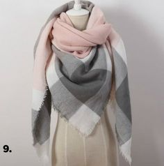 #9 Over Sized Pink & Grey Cashmere Scarf - USA ONLY