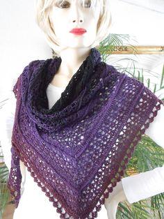 """Dreieckstücher - """"Midnight"""" Lace-Tuch in dunklem Farbverlauf - ein Designerstück von EinSommerAmMeer bei DaWanda"""