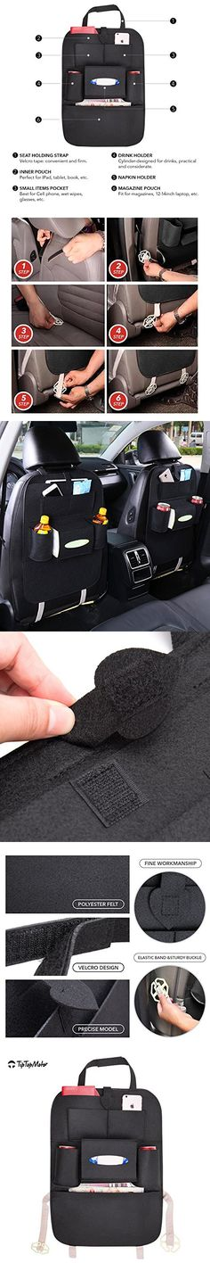 Car Backseat Organizer-Perfect for iPad,tablet,books, glasses-backseat organizer for kids with facial tissue holder-Cell phone pocket-drink holder- magazines Pouch for Newspapers,laptop(Black)