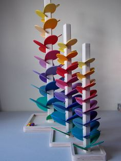 Marble run musical sound tree rainbow colours size 37.5 cm high Montessori Waldorf toy 6 wooden marbles incl. looks stunning a piece of art