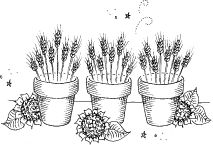 Simple terra cotta flowerpot centerpieces. Artwork by Gooseberry Patch.
