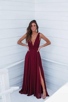 Deep v neck long prom dress with split CR 13316 Pretty Prom Dresses, Grad Dresses, Prom Outfits, Homecoming Dresses, Evening Dresses, Bridesmaid Dresses, Formal Dresses, Dress For You, Party Dress