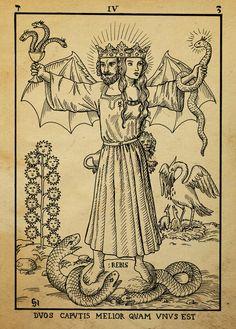 Alchemy Woodcut duos caputis melior quam unus est by *dashinvaine on deviantART
