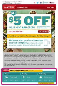 """This email promotion from Seamless included a 3-day weather forecast at the bottom, targeted for each recipient's location at the time of open. On days that showed rain or thunderstorms, the creative beneath the forecast read: """"Don't get drenched. Order in!"""""""