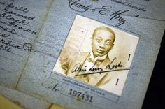 """From story by Frances Stead Sellers: """"The passport of Alain Locke, a Howard University professor, father of the Harlem Renaissance and first African American Rhodes Scholar, at the Moorland Spingarn Research Center at Howard. (Astrid Riecken/For The Washington Post)"""""""