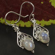 925 Sterling Silver Vintage Style Earrings Real Fire RAINBOW MOOSTONE Gemstones #Unbranded #DropDangle