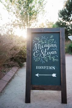 Navy and Gold Barn Wedding in Denver - Wedding Sign Chalkboard - Calligraphy hand lettering - folding sandwich sign