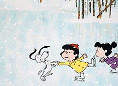 Snoopy skating with the gang gif.