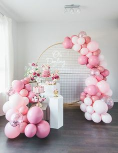 Pretty Pink and Gold Birthday Party Dessert Table on Pretty My Party Pink And Gold Decorations, 21st Birthday Decorations, Birthday Party Desserts, Birthday Balloon Decorations, 18th Birthday Party, Dessert Table Birthday, Elegant Birthday Party, Farm Birthday, Pink Party Tables