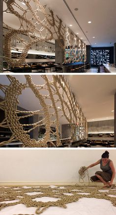 MANTZALIN have designed a rope screen for Stix, a new Mediterranean restaurant in Chelsea, New York.